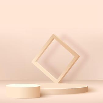 Fundo abstrato com pódios geométricos de cor creme.