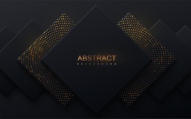 Fundo abstrato com quadrados pretos e brilhos dourados cintilantes