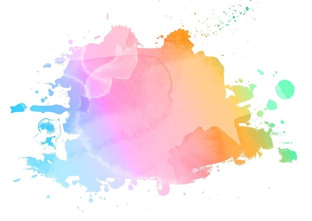 Fundo abstrato com salpicos de aquarela em cores de arco-íris