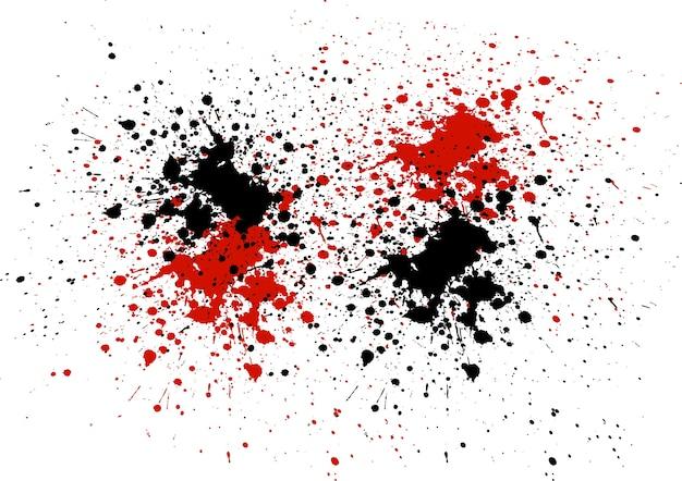 Fundo abstrato com splatters de cores vermelhas e pretas