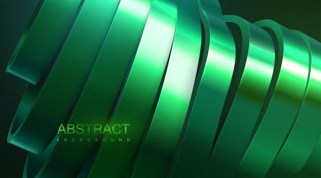 Fundo abstrato com superfície fatiada verde metálica