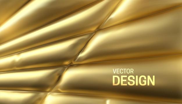 Fundo abstrato com tecido dourado costurado e inflado