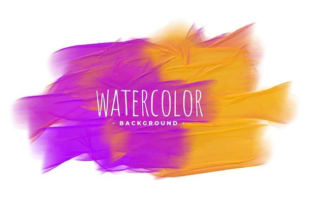 Fundo abstrato com textura aquarela roxa e amarela
