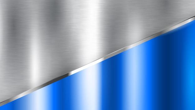 Fundo abstrato com textura de metal prata e azul