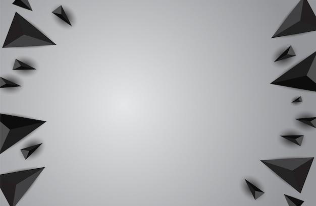 Fundo abstrato com triângulos realistas pretos