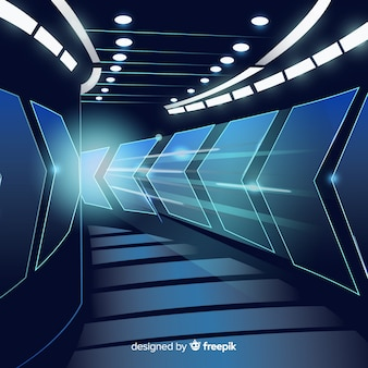 Fundo abstrato com túnel de luz tecnológica
