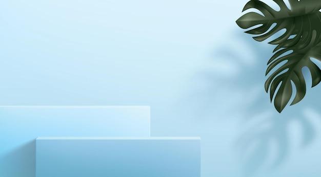 Fundo abstrato com um conjunto de pedestais em tons de azuis. suportes quadrados com folhas fixadoras.