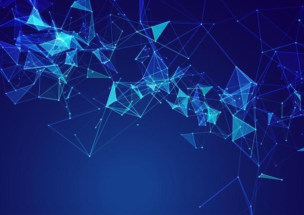 Fundo abstrato com um design de comunicação de rede de baixo poli