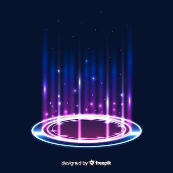 Fundo abstrato com um portal holográfico