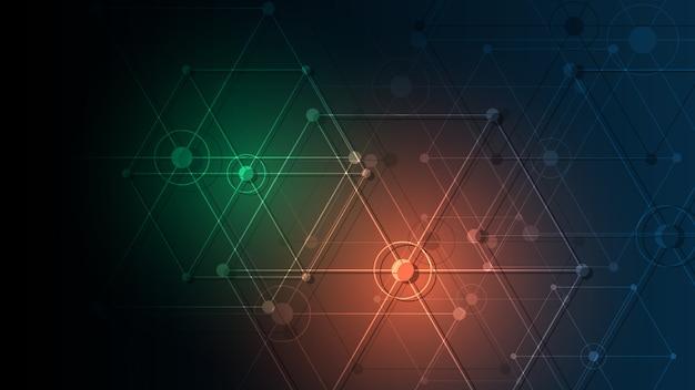 Fundo abstrato conectando pontos de inovação e conceito de comunicação de linha