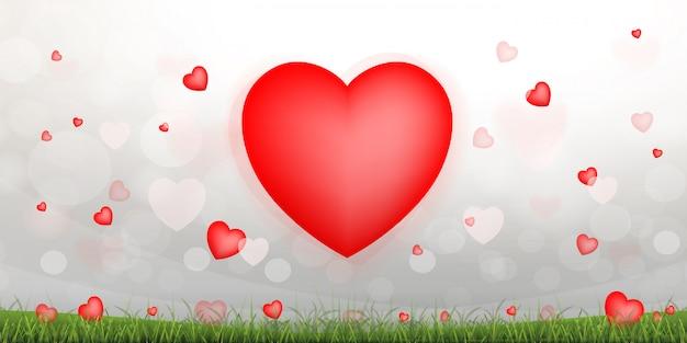 Fundo abstrato coração vermelho.