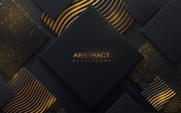 Fundo abstrato cortado em papel com formas quadradas pretas e padrões dourados
