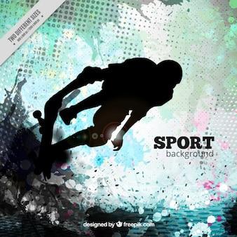 Fundo abstrato da aguarela com skater