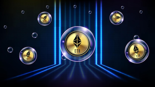 Fundo abstrato da bolha de tecnologia futurista brilhando eth ethereum criptomoeda