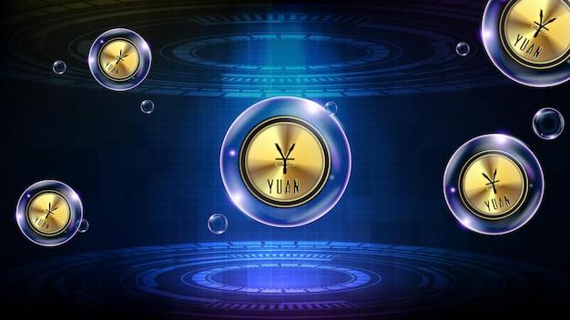 Fundo abstrato da bolha de tecnologia futurista, moeda chinesa yuan brilhante