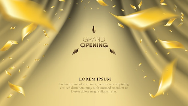 Fundo abstrato da cortina da onda dourada realística com confetes dispersando do ouro do inclinação.