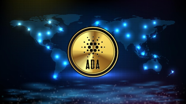 Fundo abstrato da criptomoeda de moeda de ada cardano de tecnologia futurista com mapas mundiais