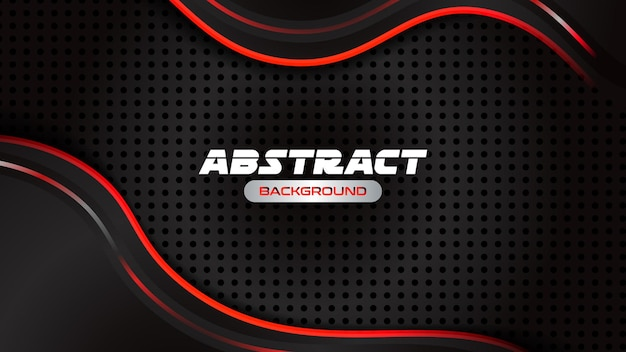 Fundo abstrato da inovação do conceito de design do esporte com moldura vermelha preta metálica abstrata