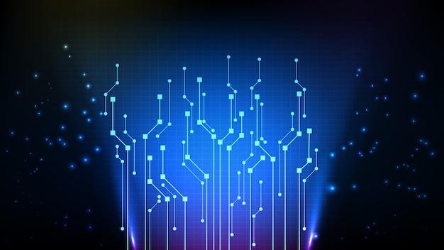 Fundo abstrato da linha futurística do circuito eletrônico digital azul escuro