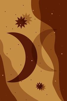 Fundo abstrato da lua do boho design boêmio minimalista para a arte do convite do papel de parede do cartão