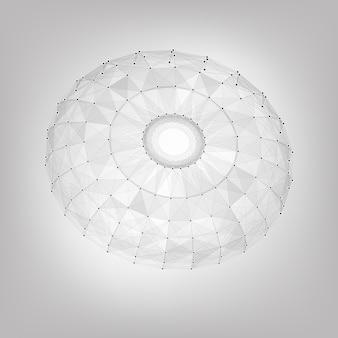 Fundo abstrato da malha do vetor. pontos cósmicamente conectados e polígonos que voam no espaço. restos voadores. cartão futurista de estilo tecnológico. linhas, pontos, aviões. design futurista. jóia, gema.