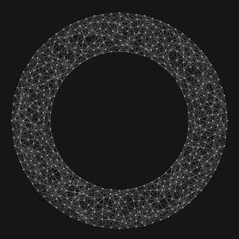 Fundo abstrato da malha do vetor. pontos cósmicamente conectados e polígonos que voam no espaço. restos voadores. cartão futurista de estilo tecnológico. linhas, pontos, círculos e aviões. design futurista.