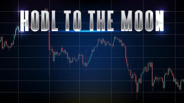 Fundo abstrato da moeda crupto mercado hodl ou segure até a lua e gráfico gráfico de análise técnica