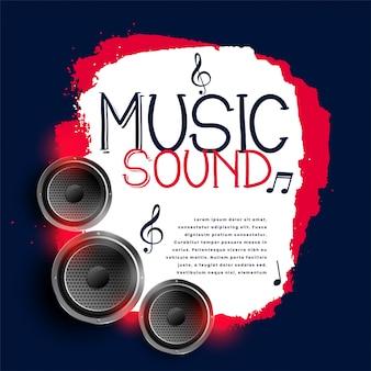 Fundo abstrato da música com três alto-falantes