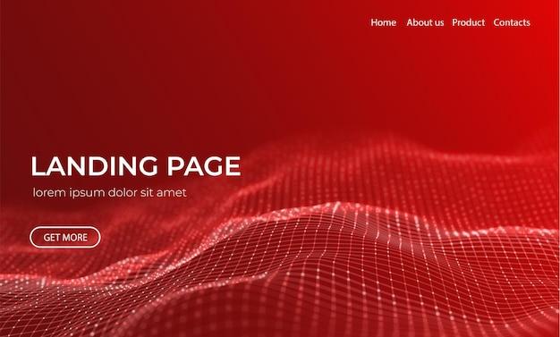 Fundo abstrato da página de destino com partículas vermelhas onda de fluxo com paisagem de pontos