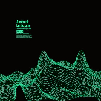 Fundo abstrato da paisagem. ciberespaço com partículas dinâmicas