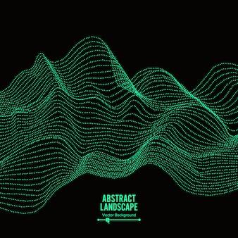 Fundo abstrato da paisagem. matriz com partículas dinâmicas.