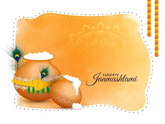Fundo abstrato da saudação do feliz festival janmashtami