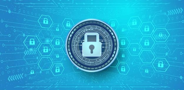 Fundo abstrato da segurança e da informação do cyber ou da proteção de rede.