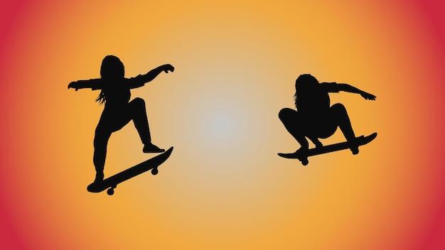 Fundo abstrato da silhueta da mulher em pose de skate