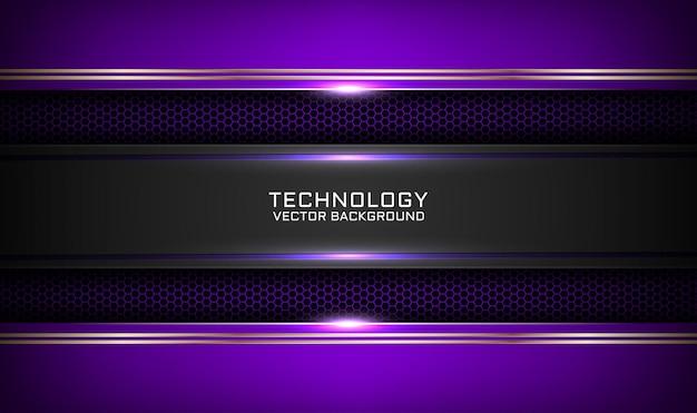Fundo abstrato da tecnologia 3d roxo e preto com efeito de linhas metálicas no espaço escuro