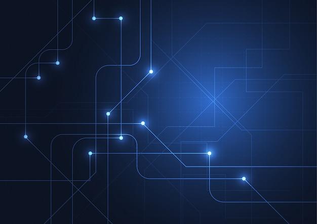 Fundo abstrato da tecnologia com círculos de néon brilhantes