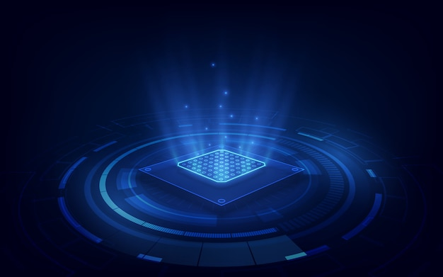 Fundo abstrato da tecnologia da placa de circuito do fundo do processador da microplaqueta da tecnologia.