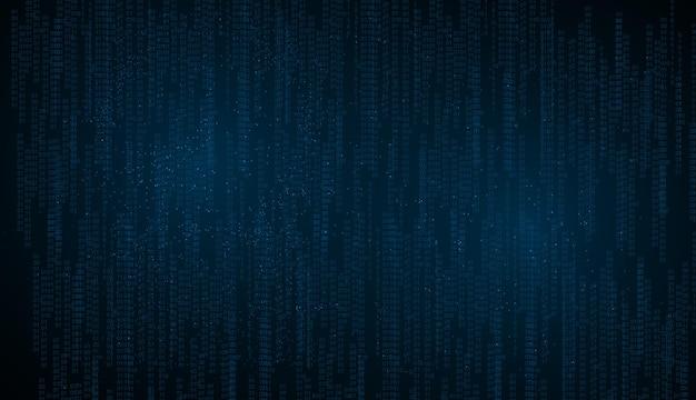 Fundo abstrato da tecnologia. dados binários e fundo de código binário de streaming