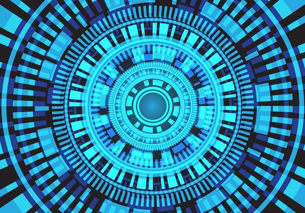 Fundo abstrato da tecnologia de circuito do círculo da luz do borrão.