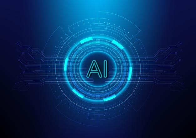 Fundo abstrato da tecnologia digital com ai (inteligência artificial)