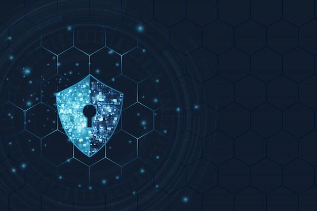 Fundo abstrato da tecnologia digital da segurança. mecanismo de proteção e privacidade do sistema