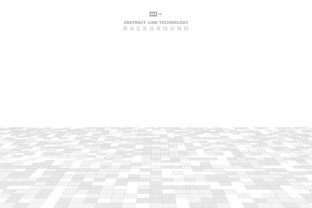 Fundo abstrato da tecnologia do teste padrão do quadrado cinzento e branco.