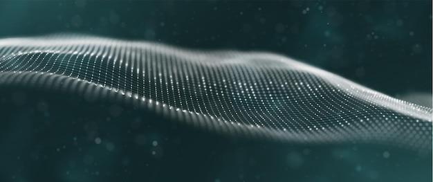 Fundo abstrato da tecnologia onda digital de partícula branca paisagem de ponto de fluxo