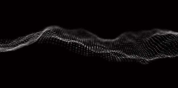 Fundo abstrato da tecnologia onda digital de partícula branca visualização da estrutura do som
