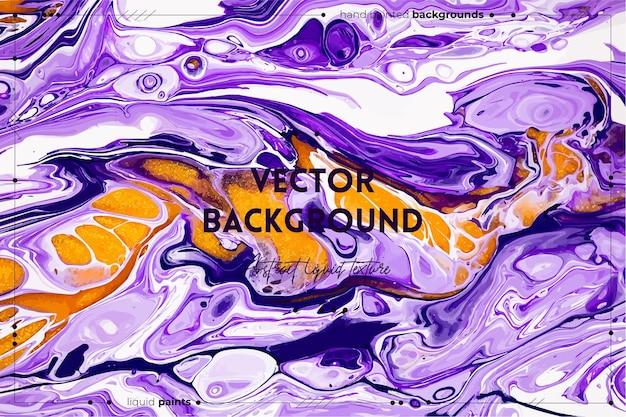 Fundo abstrato da textura da arte fluida com efeito de tinta iridescente imagem acrílica líquida com fluxos e respingos tintas misturadas para o fundo do site branco violeta e cores douradas transbordando