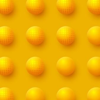 Fundo abstrato das esferas. bolas amarelas 3d. ilustração vetorial