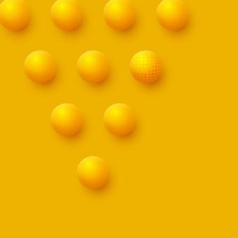 Fundo abstrato das esferas. bolas amarelas 3d.
