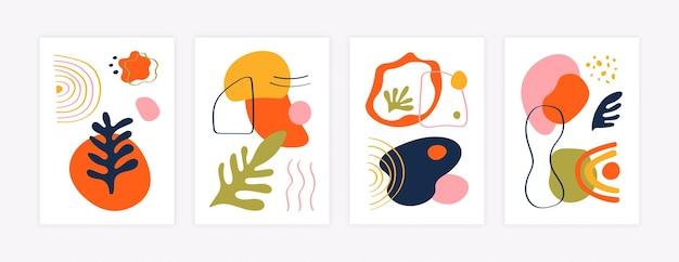 Fundo abstrato das histórias. mídia social postar modelo de plano de fundo com formas orgânicas naturais fluidas. conjunto de ilustrações coloridas da moda isoladas de vetor