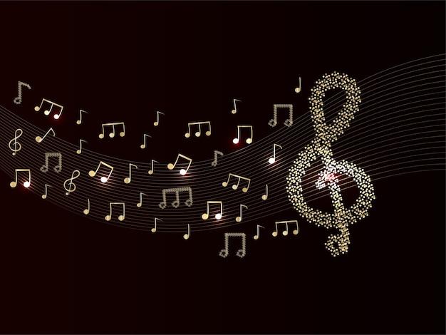 Fundo abstrato das notas musicais na cor marrom e dourada.