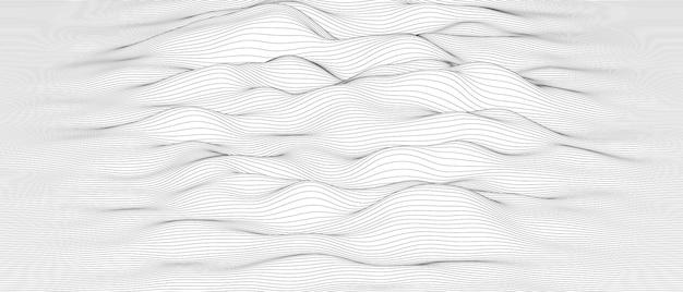 Fundo abstrato das ondas da linha de som monocromática